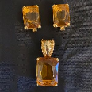 Vintage citrine pendant and clip on earrings